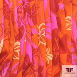 Tropical Floral Printed Silk Chiffon - Orange/Red/Pink