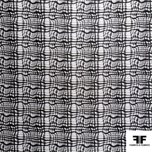 Broken Gingham Check Printed Cotton - Black/White