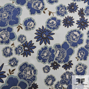 Floral Printed Silk Chiffon - Blue/White