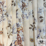 Floral Printed Silk Chiffon - Brown/Tan/Natural