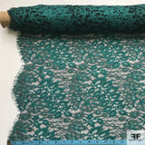 Double Scalloped Leavers Lace - Teal/Black - Fabrics & Fabrics NY