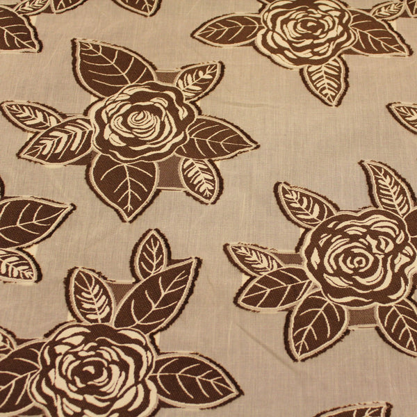 Floral Applique Novelty - Brown/Ivory - Fabrics & Fabrics NY