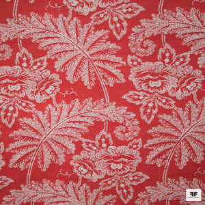 Woven Leaf Brocade - Red/White