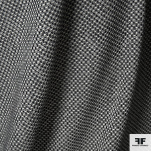 Geometric Weave Wool Suiting - Black/White