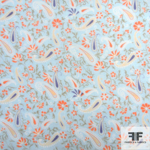 Paisley Printed Silk Chiffon - Baby Blue/Orange