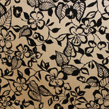 Graphic Floral Printed Cotton Pique - Black/Tan
