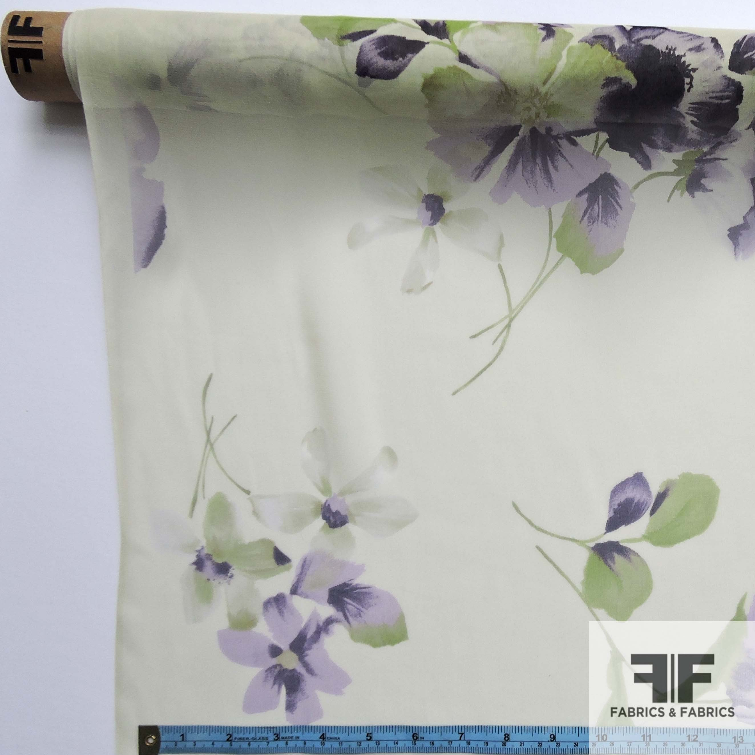 Watercolor Floral Printed Silk Chiffon - Purple/Green