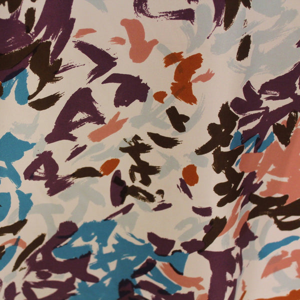 Brush Stroke Printed Silk Twill - Multicolor - Fabrics & Fabrics NY