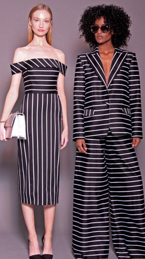 Christian Siriano Italian Striped Stretch Printed Cotton Sateen - Black / White