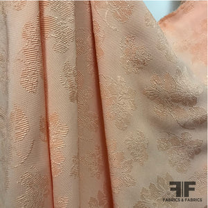 Raised Dot Textured Floral Brocade - Pale Orange - Fabrics & Fabrics