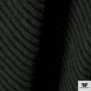 Striped Wool Coating - Green/Black