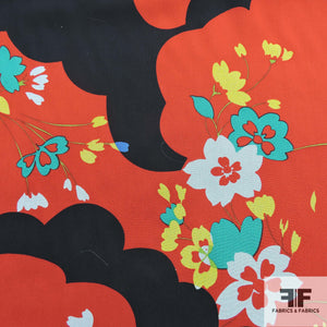 Graphic Floral Printed Silk Chiffon - Red/Black