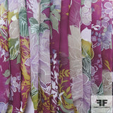 Floral Printed Silk Chiffon - Purple/Multicolor