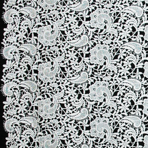 Paisley Floral Guipure Lace - White