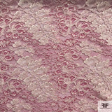 Double Scalloped Leavers Lace - Pink/White