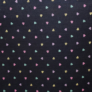 Pastel Heart Print Cotton Denim - Multicolor