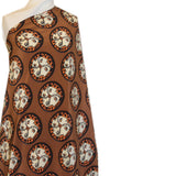 Printed Silk Crepe De Chine - Brown/Black/Orange