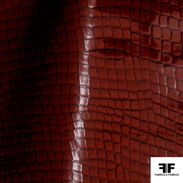 Crocodile Embossed Vinyl - Red - Fabrics & Fabrics NY