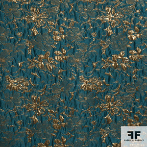 Floral Metallic Brocade fabric in Gold/Peacock Blue