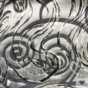Abstract Silk Burnout - Grey/Silver/Black