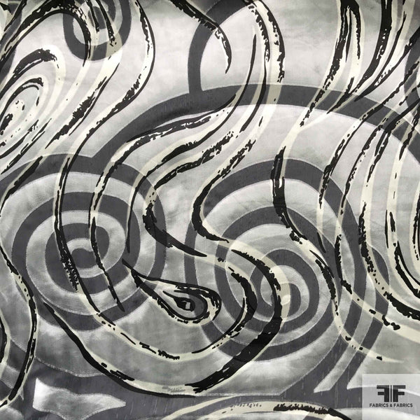 Abstract Silk Burnout - Grey/Silver/Black - Fabrics & Fabrics NY