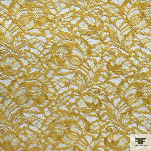 Double Scalloped Leavers Lace - Yellow - Fabrics & Fabrics NY