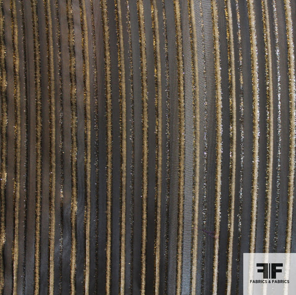 Striped Burnout Velvet - Metallic/Grey