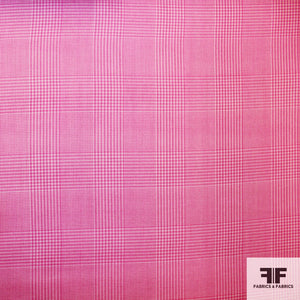 Plaid Printed Silk Gazar - Pink