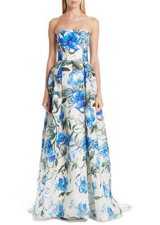 Carolina Herrera Floral Printed Silk Gazar Panel - Blue / White