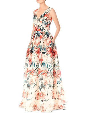 Carolina Herrera Floral Printed Silk Gazar Panel - Rust / Teal / White