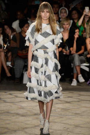 Christian Siriano Novelty Fringed Suiting - White/Black/Cream - Fabrics & Fabrics