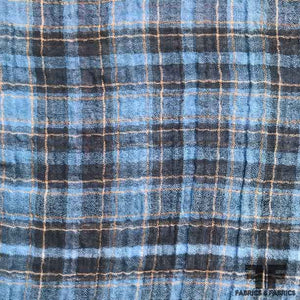 Windowpane Plaid Cotton Shirting - Blue/Orange