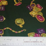 Rings and Bracelets Printed Silk Charmeuse - Green/Purple/Gold
