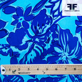 Tropical Floral Printed Charmeuse - Blue