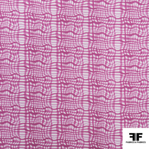 Broken Gingham Check Printed Cotton - Pink/White