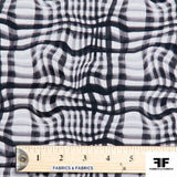 Broken Gingham Check Printed Cotton - Black/White - Fabrics & Fabrics NY