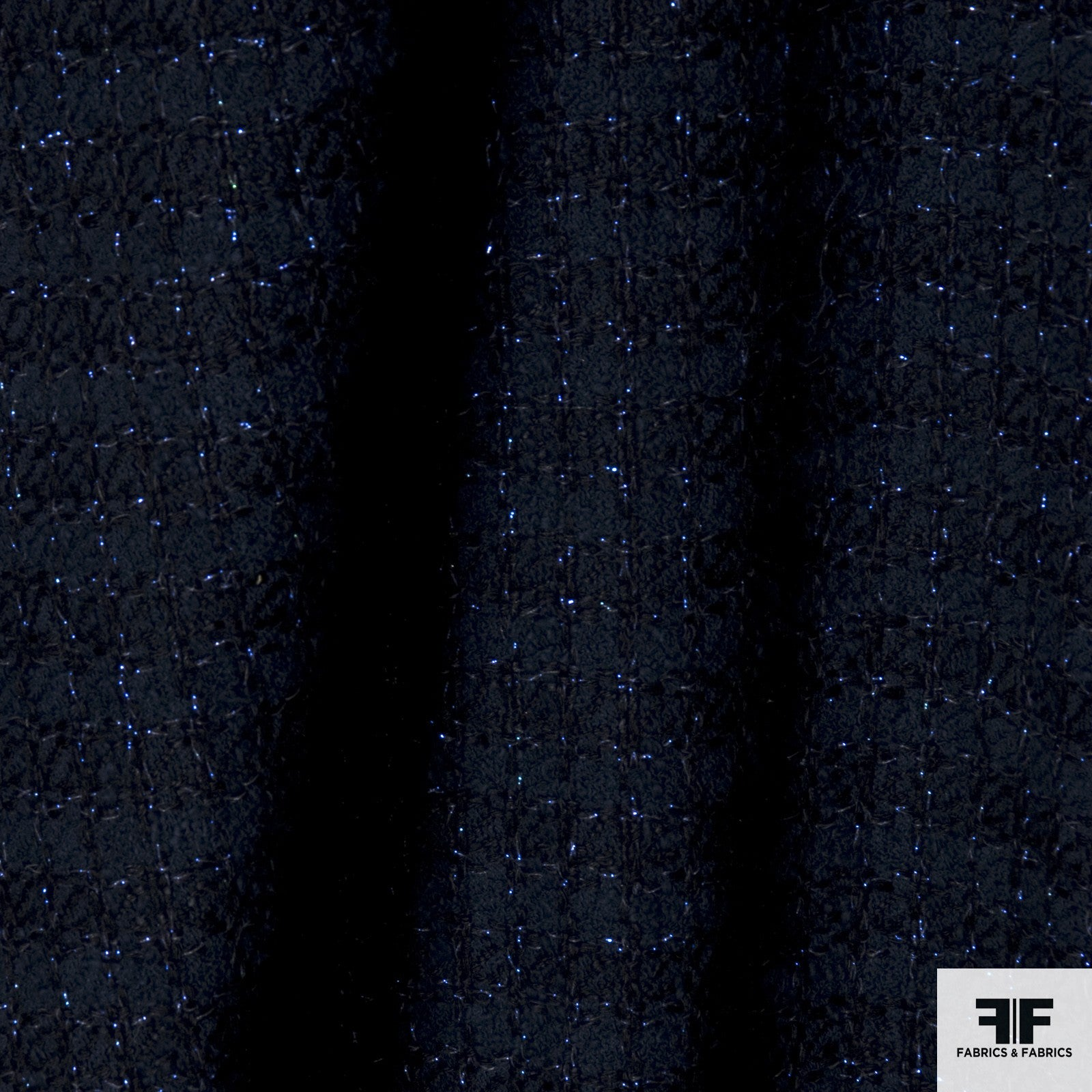 Cotton Blend Suiting with Metallic Threads - Navy/Purple - Fabrics & Fabrics NY