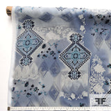 Collage Printed Silk Chiffon - Blue/White - Fabrics & Fabrics NY