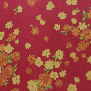 Floral Printed Silk Chiffon -Red/Orange/Yellow