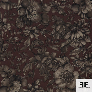 Floral Printed Silk Georgette - Brown/Taupe/Grey