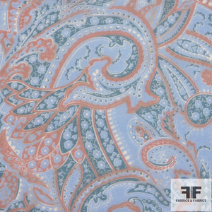 Paisley Printed Silk Chiffon - Orange/Blue