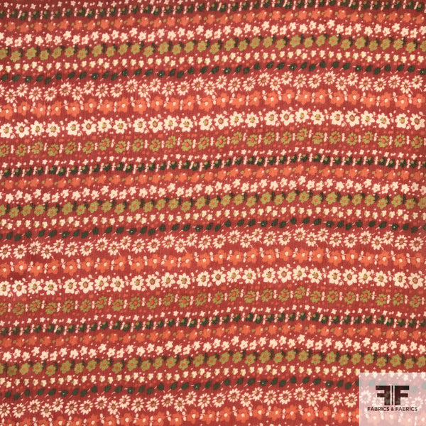 Floral Striped Crinkle Chiffon - Red