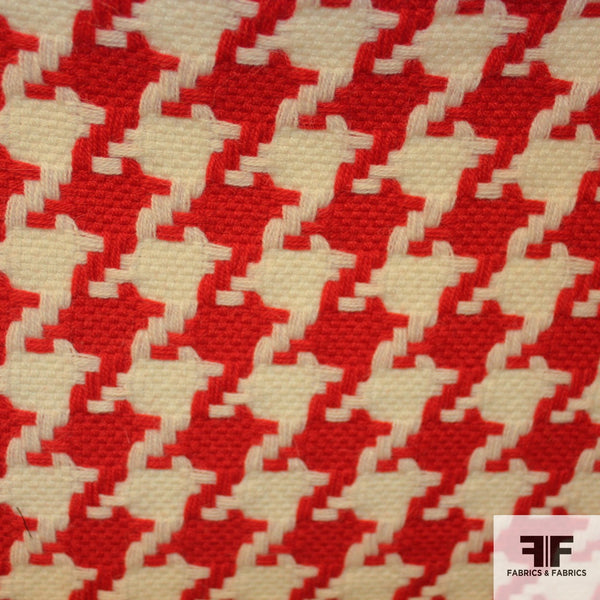 Wool Houndstooth - Red/White