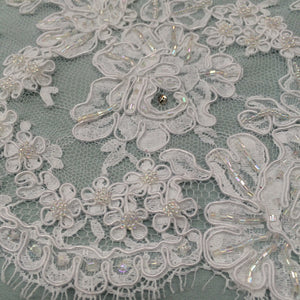 Beaded Alencon Lace - White