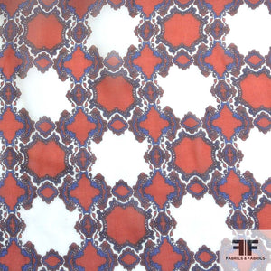 Geometric Printed Silk Chiffon - Red/White/Blue