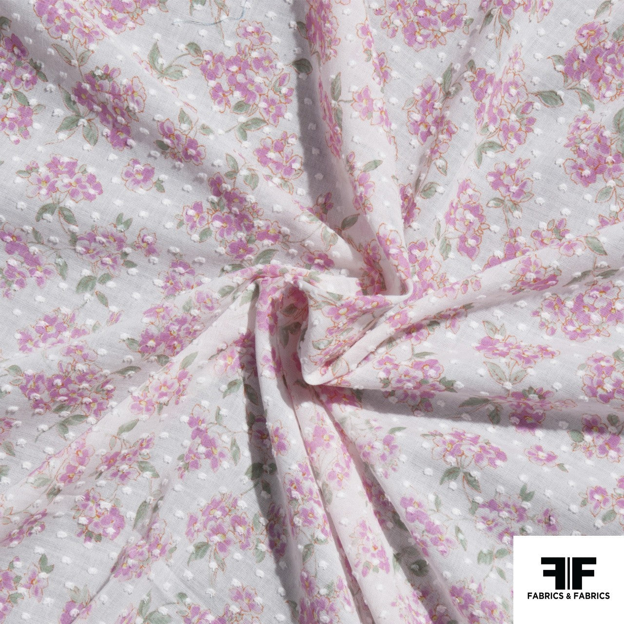 Floral and Swiss Dot Printed Cotton - Pink/White - Fabrics & Fabrics NY