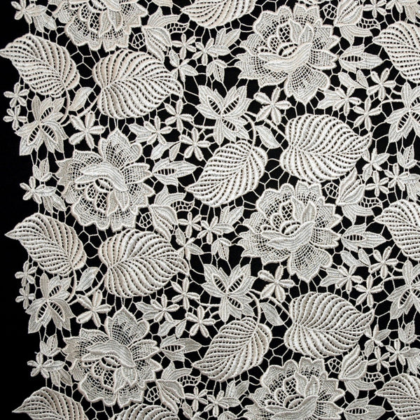 Floral Guipure Lace - Silver/Grey