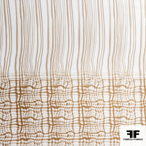 Wavy Check Printed Silk Twill - Brown