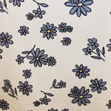 Graphic Floral Daisy Printed Cotton Pique - Blue/White
