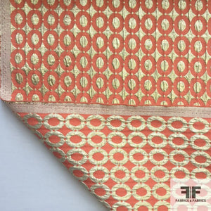 Metallic Geometric Brocade - Gold/Orange